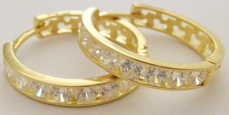 Větší zlaté kruhy se zirkony 18ks v průměru 16mm 585/1,65gr 1131191