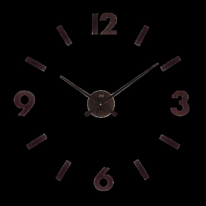 Designové nástěnné dřevěné nalepovací hodiny JVD HC31.2 (tmavé dřevo)