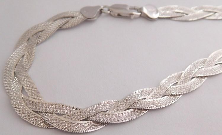Stříbrný pletený gravírovaný masivní náhrdelník - řetízek rhodium 45cm 17,06gr 030898600002