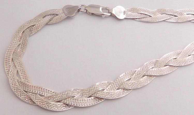 Stříbrný pletený gravírovaný masivní náhrdelník - řetízek rhodium 50cm 18,93gr 030898600002