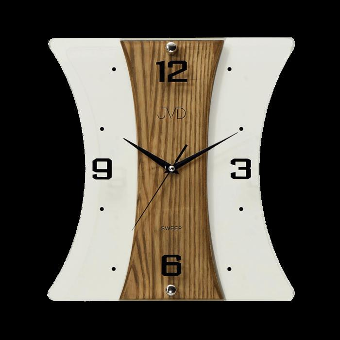 Nástěnné moderní skleněné dřevěné netikající tiché hodiny JVD NS16051/11