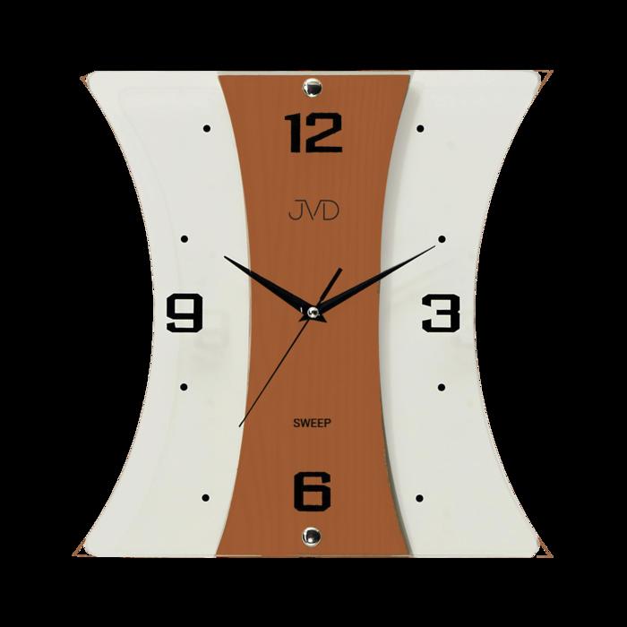 Nástěnné moderní skleněné dřevěné netikající tiché hodiny JVD NS16051/41