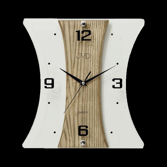 Nástěnné moderní skleněné dřevěné netikající tiché hodiny JVD NS16051/78