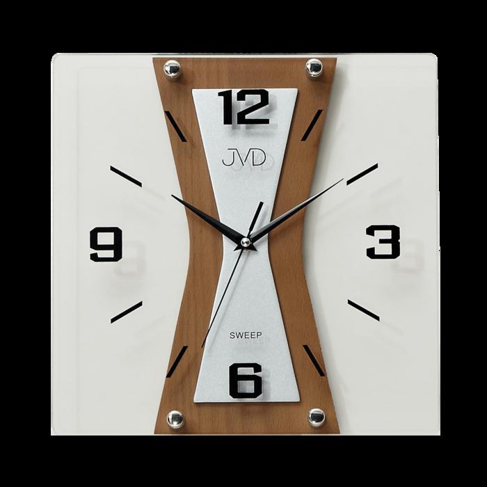 Nástěnné moderní skleněné dřevěné netikající tiché hodiny JVD NS17010/41