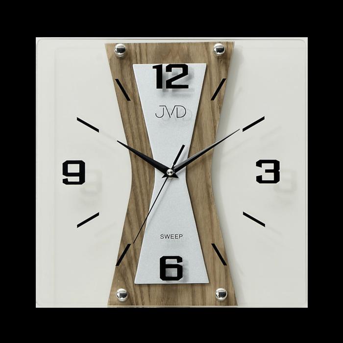 Nástěnné moderní skleněné dřevěné netikající tiché hodiny JVD NS17010/78