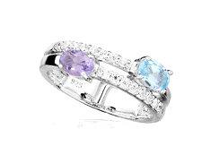 7b5e48a8a Stříbrný prsten se zirkony, topazem a amentisem 214S | Zlatnictví ...