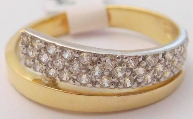 10abf7ff5 Masivní elegantní dámský zlatý prsten se zirkony z bílého a žlutého zlata  585/2,73gr vel. 55 H445