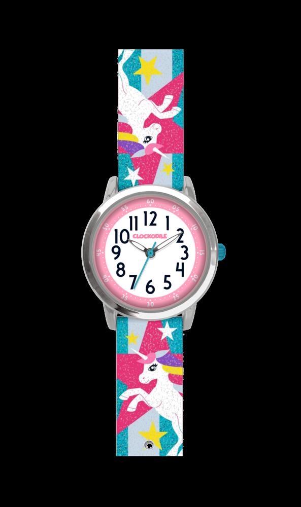 Tyrkysové třpytivé dívčí hodinky s jednorožcem CLOCKODILE UNICORNS CWG5052