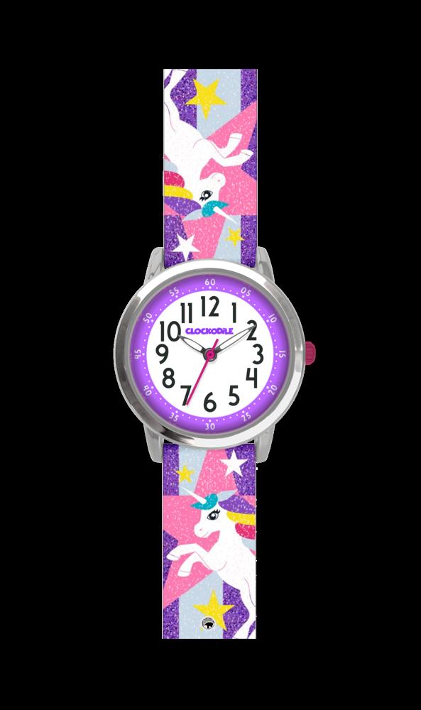 Fialové třpytivé dívčí hodinky s jednorožcem CLOCKODILE UNICORNS CWG5051