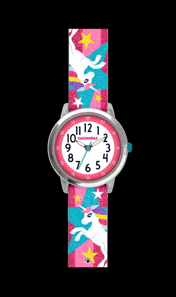 Růžové třpytivé dívčí hodinky s jednorožcem CLOCKODILE UNICORNS CWG5050