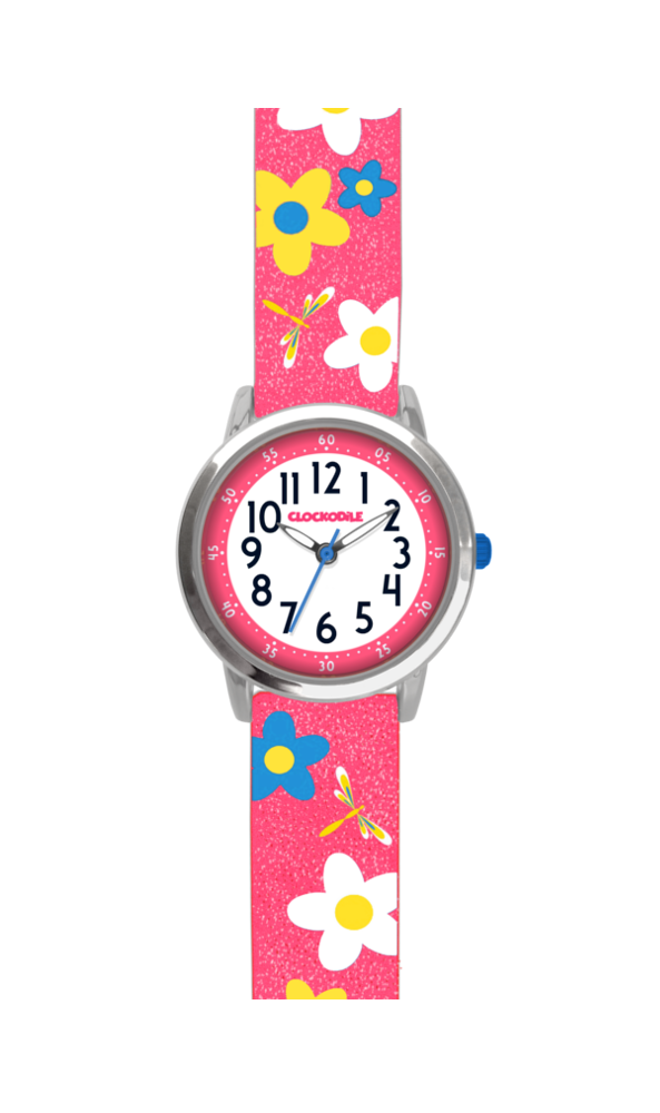 Květované růžové dívčí hodinky CLOCKODILE FLOWERS se třpytkami CWG5023