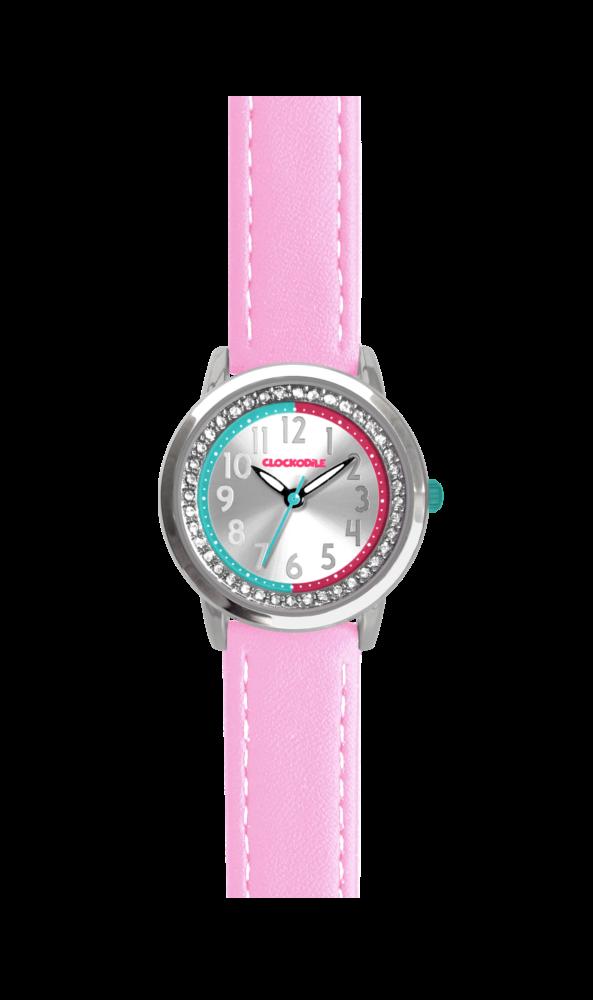 Růžové třpytivé dívčí hodinky se kamínky CLOCKODILE SPARKLE CWG5075