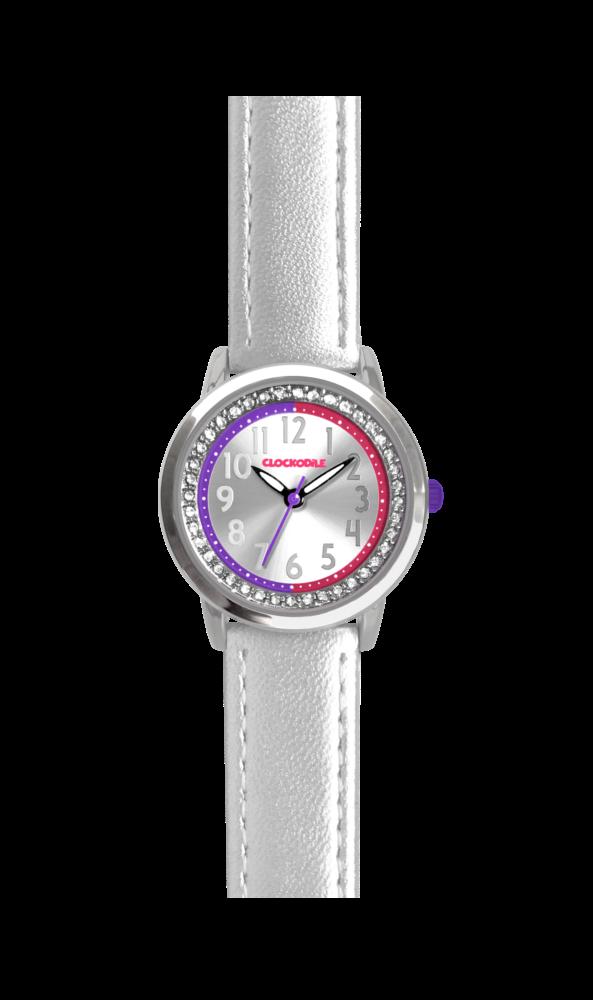 Stříbrné třpytivé dívčí hodinky se kamínky CLOCKODILE SPARKLE CWG5074