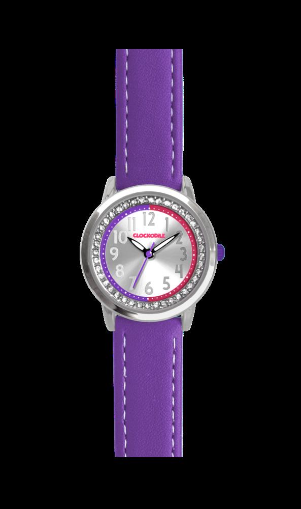 Fialové třpytivé dívčí hodinky se kamínky CLOCKODILE SPARKLE CWG5072