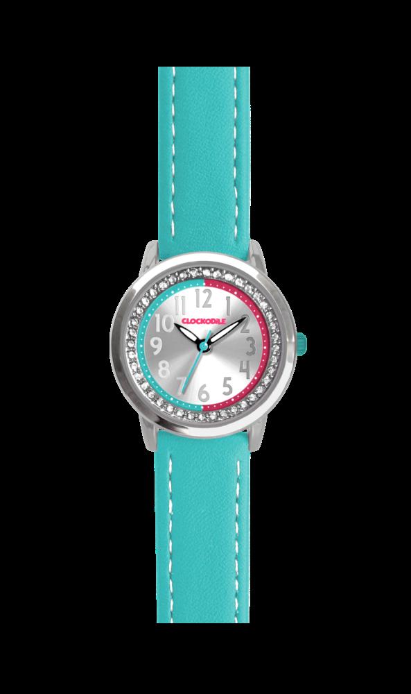 Tyrkysové třpytivé dívčí hodinky se kamínky CLOCKODILE SPARKLE CWG5071