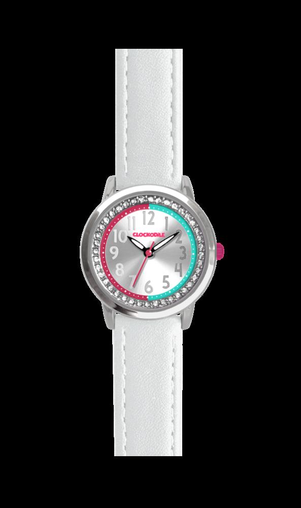 Bílé třpytivé dívčí hodinky se kamínky CLOCKODILE SPARKLE CWG5070