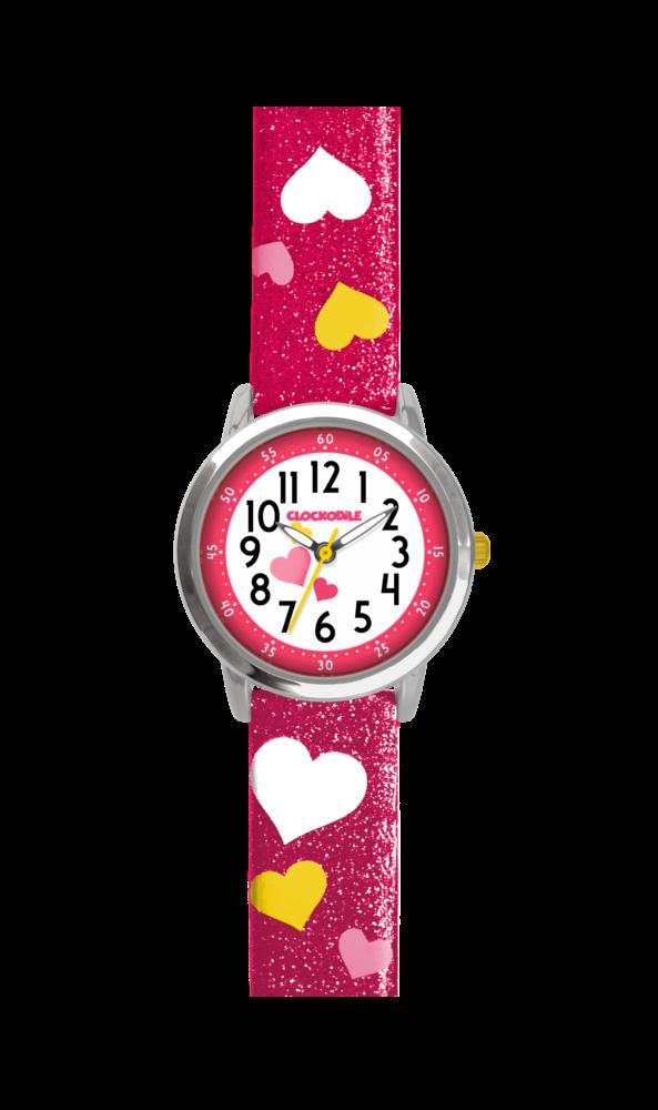Růžové třpytivé dívčí hodinky se srdíčky CLOCKODILE HEARTS CWG5060