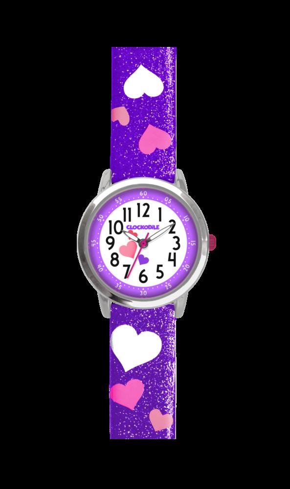 Fialové třpytivé dívčí hodinky se srdíčky CLOCKODILE HEARTS CWG5061