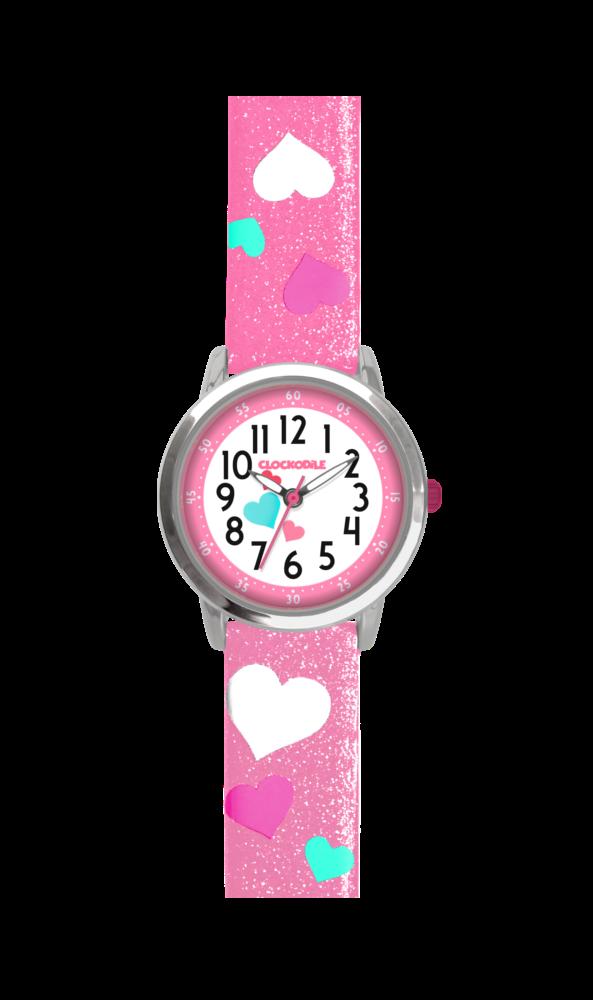 Růžové třpytivé dívčí hodinky se srdíčky CLOCKODILE HEARTS CWG5062