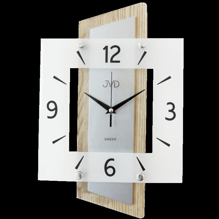Nástěnné moderní skleněné dřevěné netikající tiché hodiny JVD NS17012/78