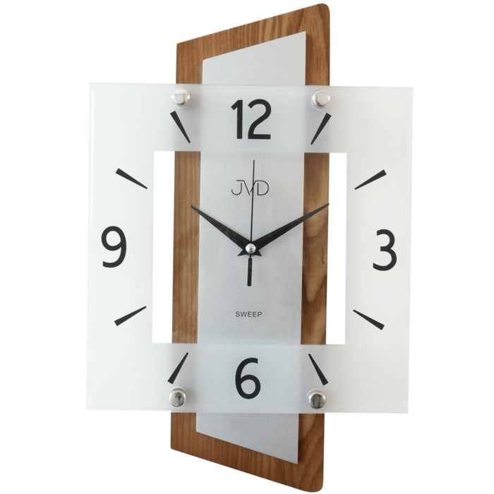 Nástěnné moderní skleněné dřevěné netikající tiché hodiny JVD NS17012/11