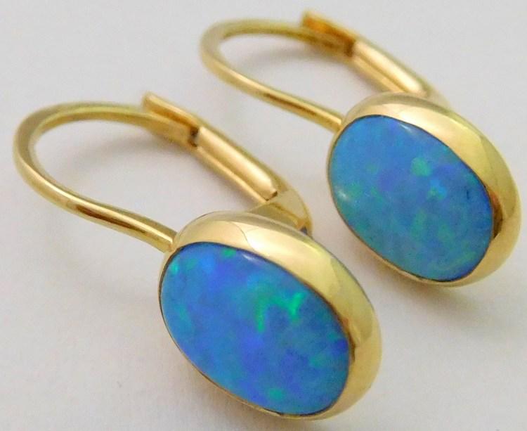 Zlaté luxusní náušnice s velkými modrými opály (oválky) 585/1,70gr 1157045-0-0-49