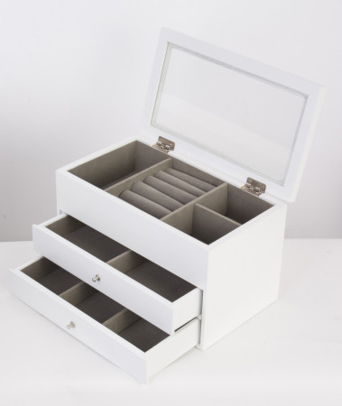 Bílá dřevěná dvoupatrová šperkovnice 100000742 se zrcadlem