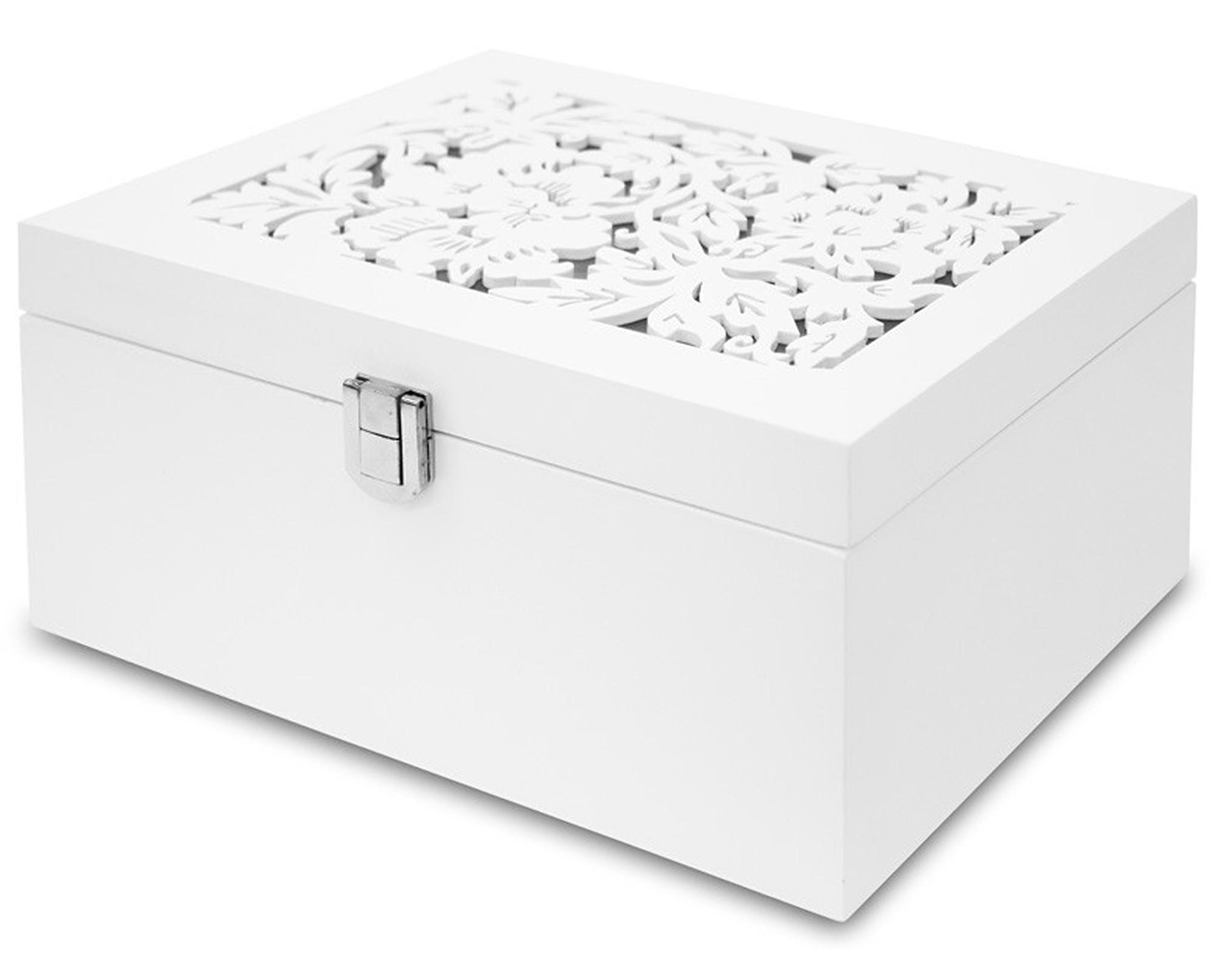 Dvoupatrová bílá dřevěná šperkovnice 109627/100003294 s květinovým dekorem