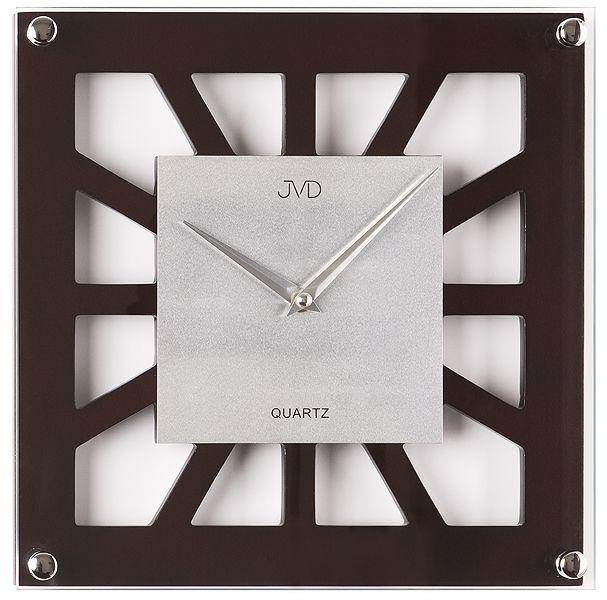 Dřevěné skleněné nástěnné hodiny JVD quartz N127.23