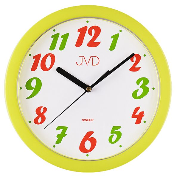 Žluté dětské nástěnné hodiny JVD sweep HP612.22