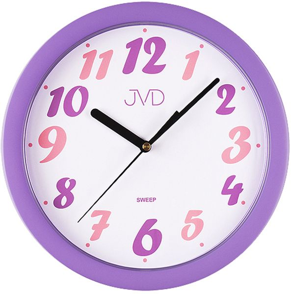 Fialové dětské nástěnné hodiny JVD sweep HP612.23