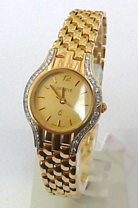 Luxusní zlaté dámské hodinky GENEVE 585/30,7g s briliantovými routy