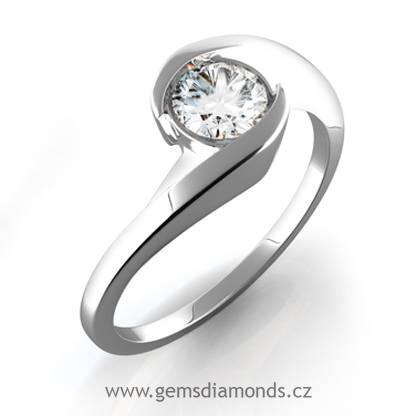 ZLATÉ ZÁSNUBNÍ PRSTENY | Luxusní prsten s diamantem Aneta, bílé ...