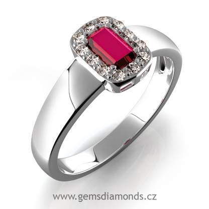 Luxusní prsten s diamanty, rubín, bílé zlato, Josefína