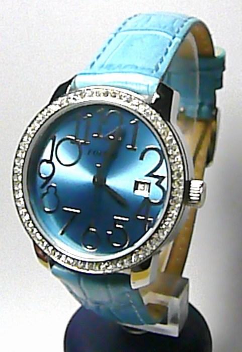 Luxusní modré ocelové dámské hodinky Foibos 3441.1 na kůži