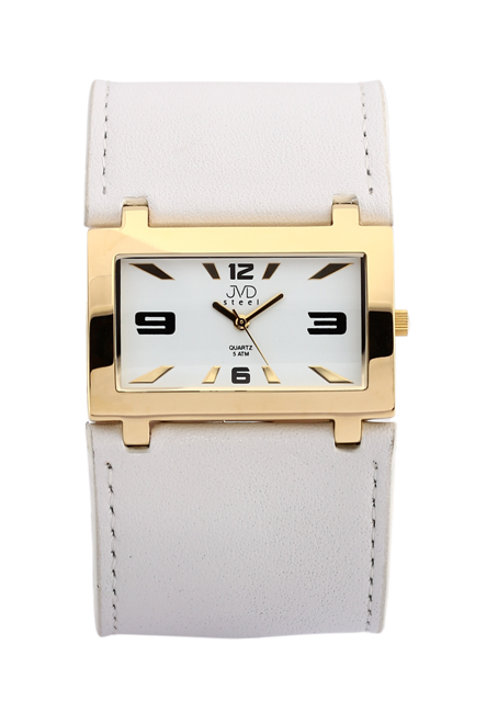 Luxusní zlacené široké bílé dámské hodinky JVD J1047.3 31435c565e9