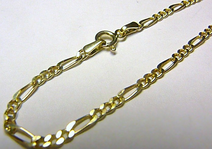 Pánský luxusní mohutný zlatý řetěz žluté zlato FIGARO 50cm/2,02gr H003