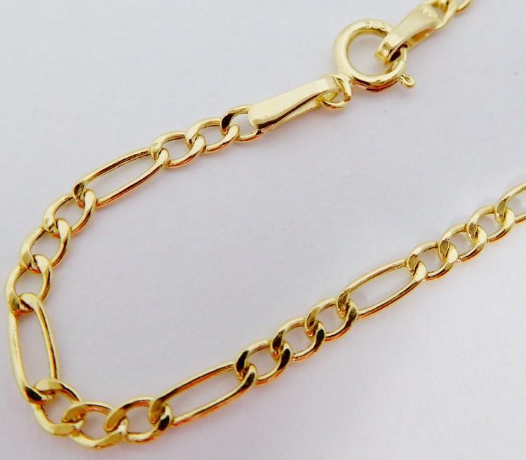 Zlatý přívěskový dámský řetízek vzor FIGARO šíře cca 2mm 42cm 585/1,36gr H003