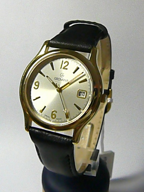 Luxusní švýcarské ocelové hodinky Grovana 1207.1112 na kůži