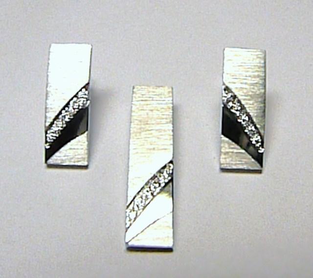 Pravé diamantové náušnice z bílého zlata na šroubek 585/3,83gr - 10ks DIAMANT