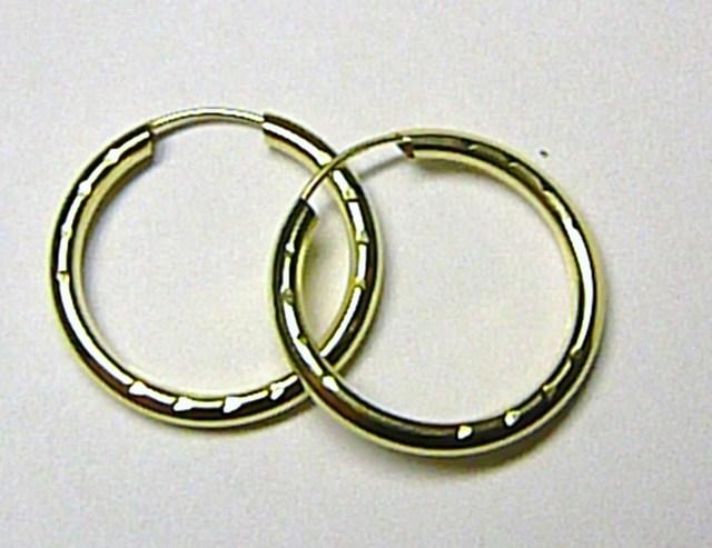 Luxusní velké zlaté kruhy - kroužky 18mm 585/0,55gr T004
