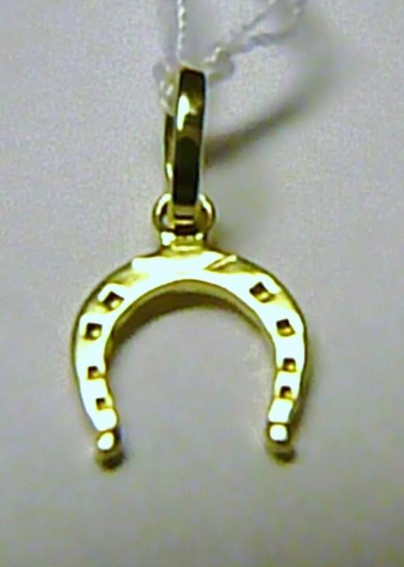 Módní zlatý přívěsek - zlatá podkova pro štěstí 585/0,35gr T049