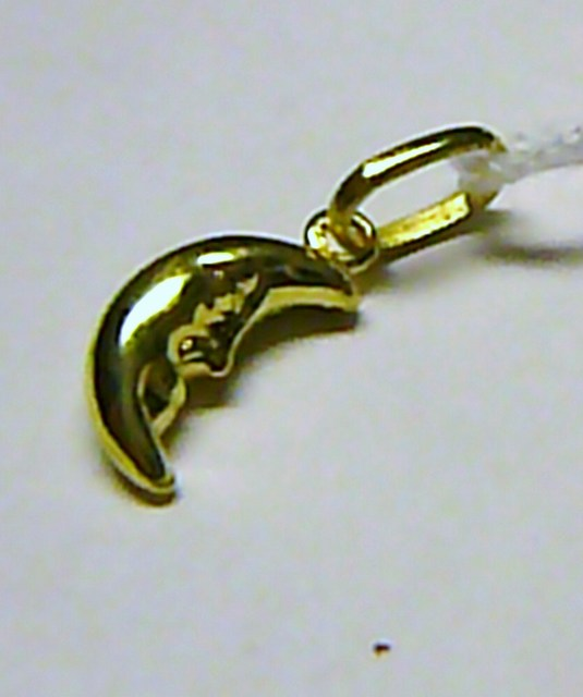 Moderní zlatý přívěsek - zlatý půlměsíc 585/0,45gr T011