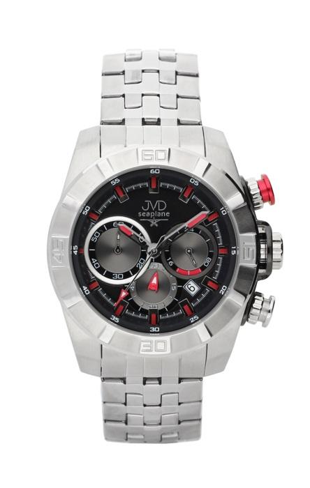Ocelové červené chronografy hodinky JVD seaplane JS28.2 - 10ATM
