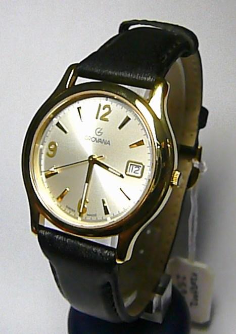 Luxusní švýcarské pánské ocelové hodinky Grovana 1207.1 na kůži safírové sklo