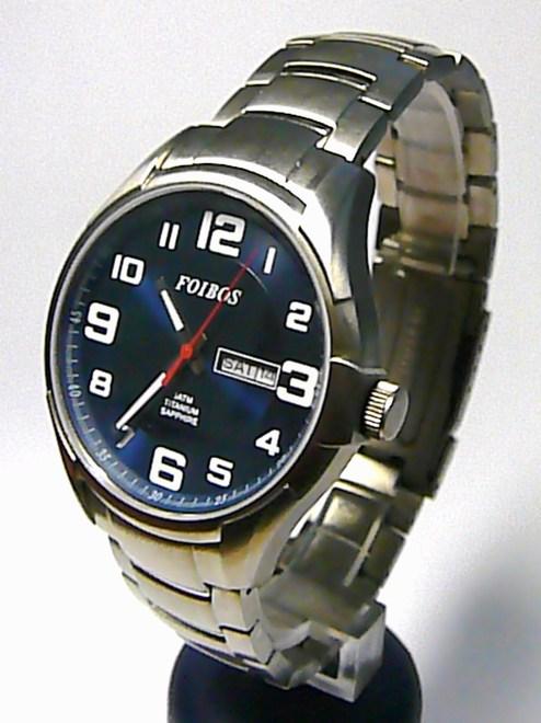 Titanové pánské vodotěsné hodinky Foibos 90173 se safírovým sklem 5ATM