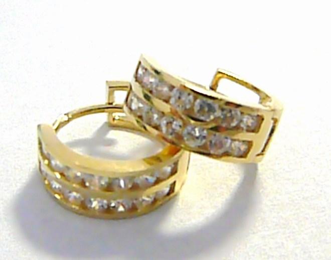 Mohutné plné zlaté kruhy poseté zirkony - zlaté kroužky 585/1,70 gr P024