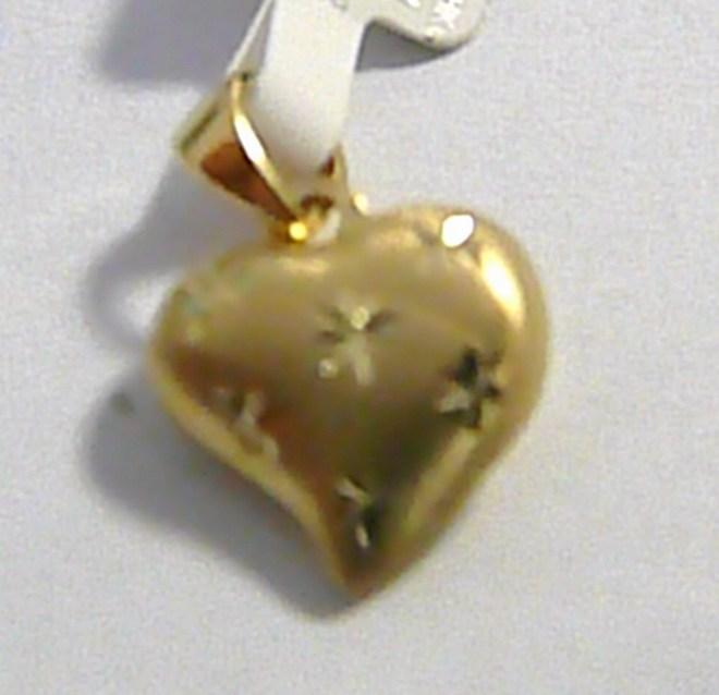 Luxusní zlatý přívěsek s rytinou - zlaté srdíčko 585/0,57gr P039