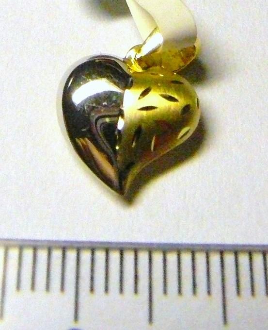 Luxusní zlatý přívěsek - zlaté srdíčko z bílého a žlutého zlata 585/0,6g P049