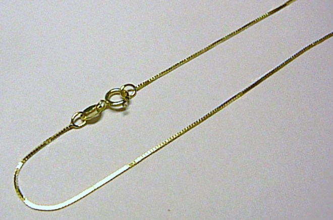 Moderní dámský zlatý kostičkovaný řetízek (Benátský) 42cm 585/1,1gr T024